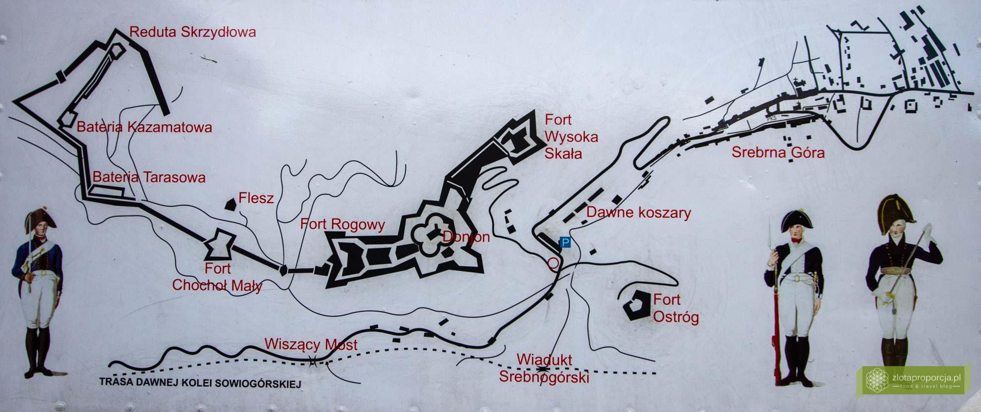 Srebrna Góra, twierdza Srebrna Góra; plan twierdzy Srebrna Góra