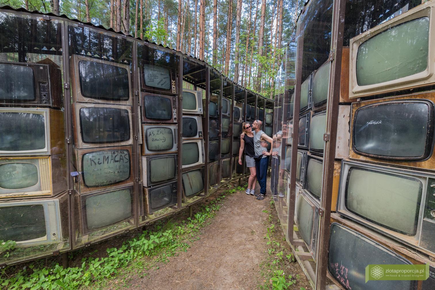 Drzewo Informacji, rzeźba z telewizorów, Infotree, Park Europy, Wilno, okolice Wilna, Litwa, atrakcje Litwy, rzeźby