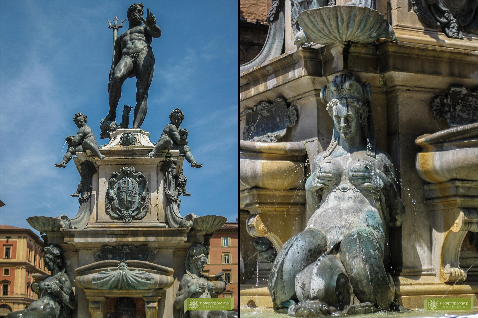 Bolonia, atrakcje Bolonii, zwiedzanie Bolonii, Piazza Maggiore, Fontanna Neptuna, Emilia Romania,