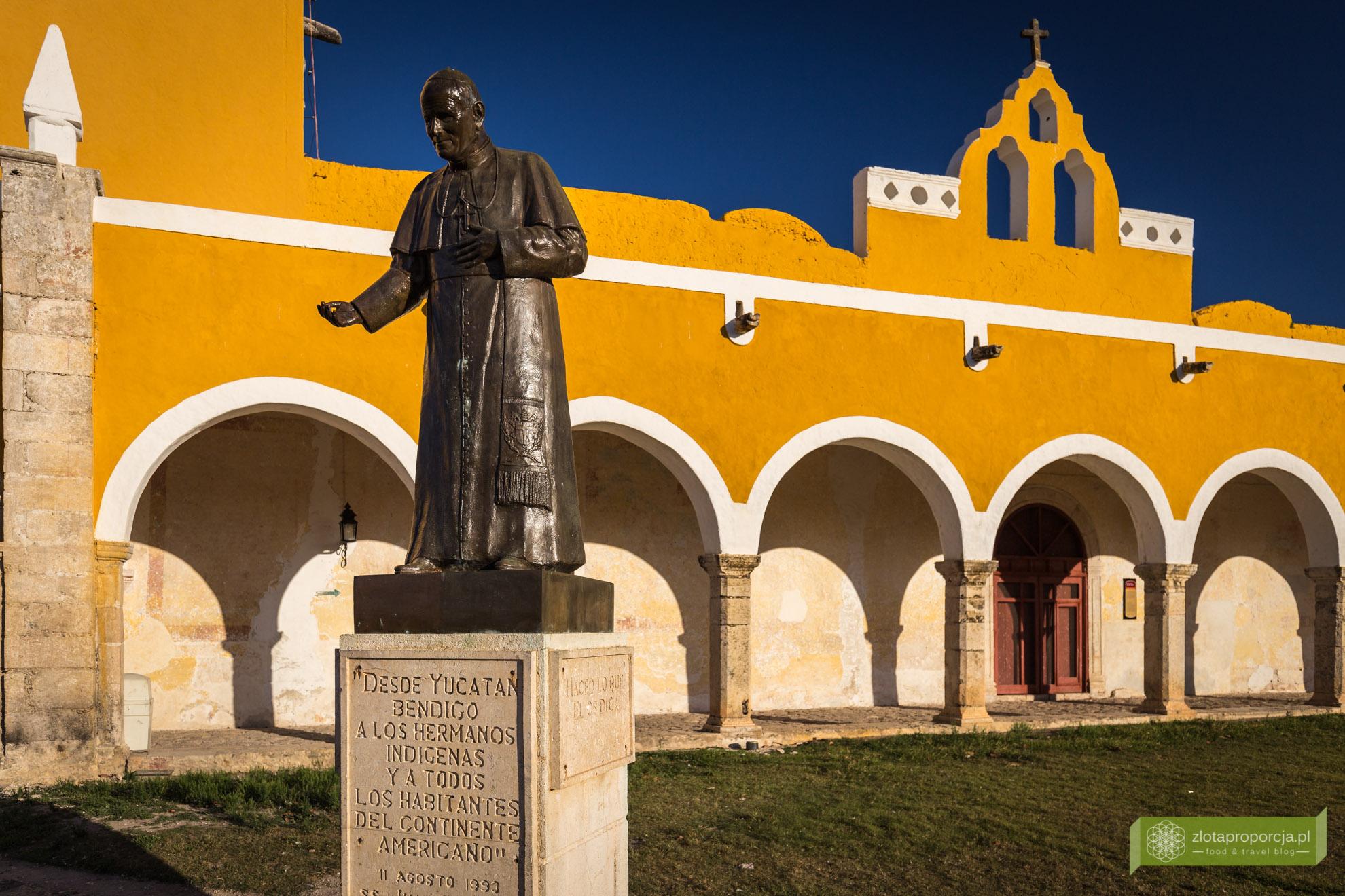 Izamal, żółte miasto, Jukatan, Jukatan atrakcje, Meksyk, konwent, kościół, pomnika Jana Pawła II