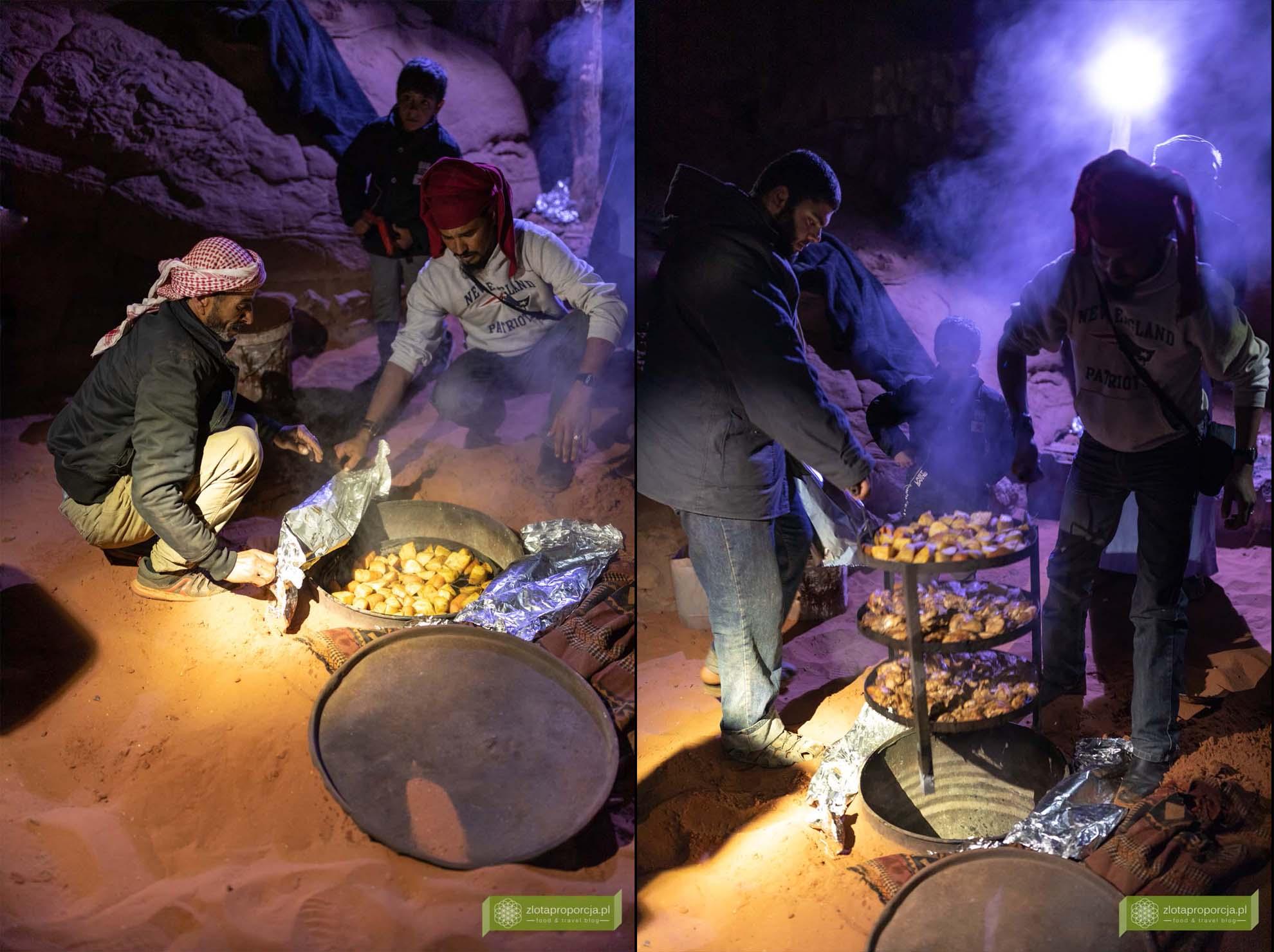 Jordania, pustynia Jordania, Jordania atrakcje; zarb, grill beduiński, Beduini, kuchnia Beduinów, kuchnia Jordanii, grill na pustyni, pustynny piec;