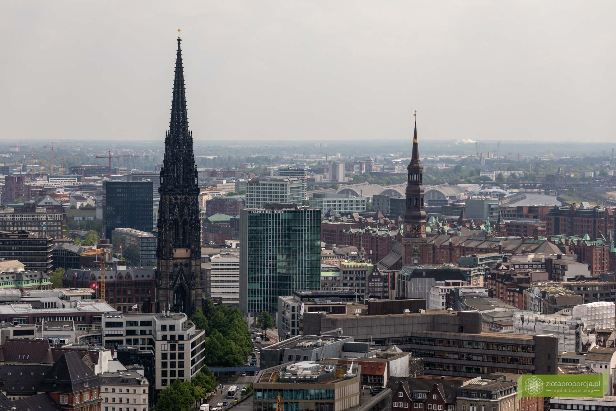 Hamburg, atrakcje Hamburga, Niemcy; Kościół św. Michała w Hamburgu; panorama Hamburga;