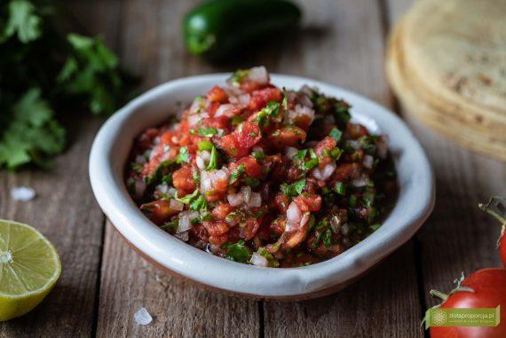Pico de gallo; salsa ze świeżych pomidorów; salsa fresca; salsa cruda; kuchnia meksykańska; meksykańska salsa z pomidorów; salsa z pomidorów; salsa pomidorowa;
